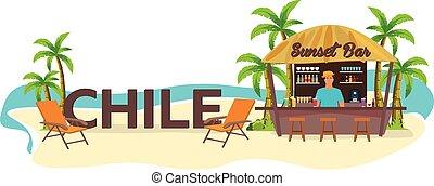 dłoń, chile., bar., travel., rozwalanie się, napój, krzesło, lato, plaża, tropical.