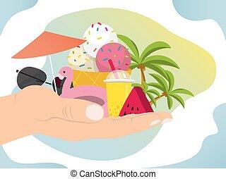 dłoń, raj, ręka, ilustracja, pojęcie, urlop, lato, śmietanka...