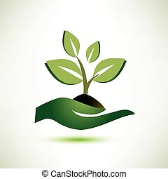 dłoń, roślina, pojęcie, symbol ekologii