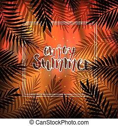 dłoń, tropikalny, liście, lato, frame., tło.