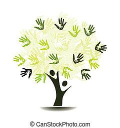 dłonie, drzewo