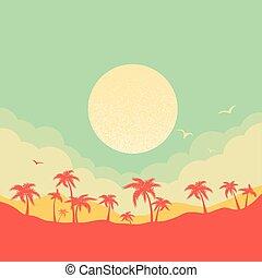 dłonie, sylwetka, niebo, tło, wyspa raju, tropikalny