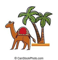 dłonie, wielbłąd, siodło, tropikalny, egiptian, wysoki