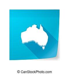 długi, cień, wektor, klejowata nuta, ikona, z, niejaki, mapa, od, australia