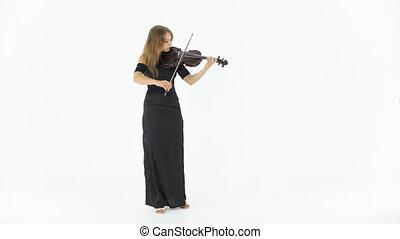 długi, czarnoskóry, skrzypce, dziewczyna, strój,...