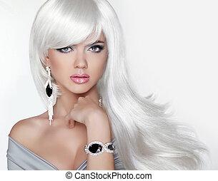 długi, hair., fason, blond, dziewczyna, z, biały, falisty, hairstyle., expensi