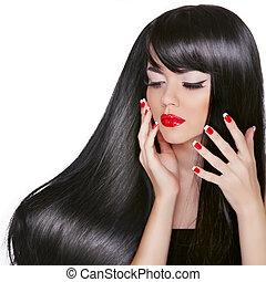 długi, hair., piękny, brunetka, dziewczyna, z, wspaniały, czarny włos, i, jasny, profesjonalny, makijaż, odizolowany, na białym, tło.