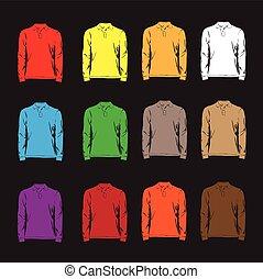 długi, rękawy, t-shirts.