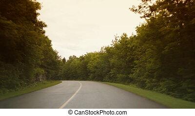 długi, zaginając, road.