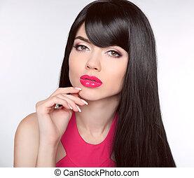 długi, zdrowy, hair., makeup., manicured, nails., piękny, wzór, dziewczyna, z, czarnoskóry, prosty, błyszczący, włosy, i, czuciowy, usteczka, odizolowany, na, studio, tło., piękno, brunetka, woman.