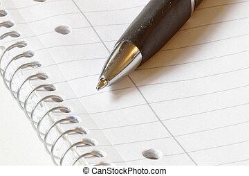 długopis, na, czysty, papier