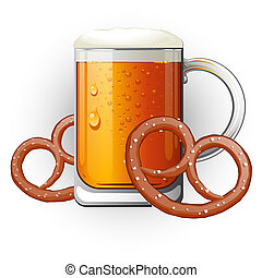 dřít na zkoušky k pivo, s, pretzels., oktoberfest