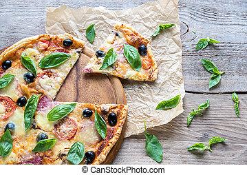 dřevěný, řezat, deska, pizza