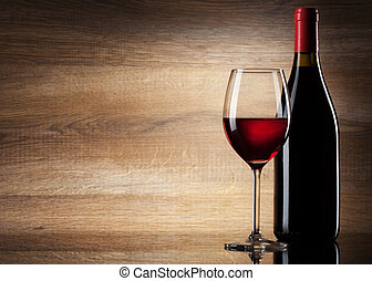 dřevěný, blyštit se sklenice, grafické pozadí, víno
