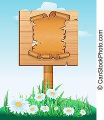 dřevěný, firma, prkna