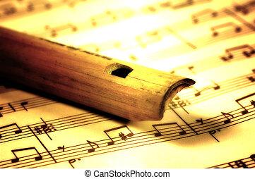 dřevěný, flétna
