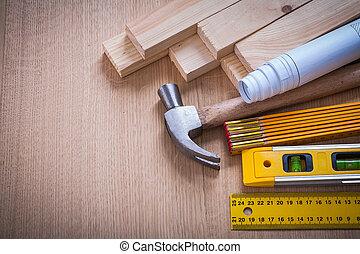 dřevěný, hřeby, a, měřič, pravítko, kladívko, blueprints, konstrukce, leve