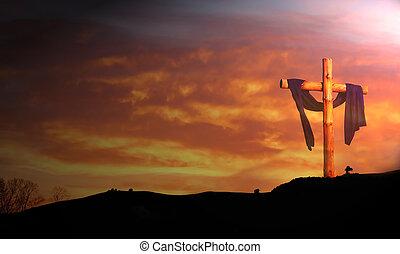 dřevěný, kříž, na, východ slunce, mračno