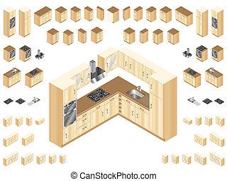 dřevěný, kuchyně, základy