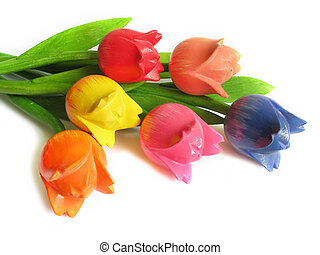dřevěný, květiny