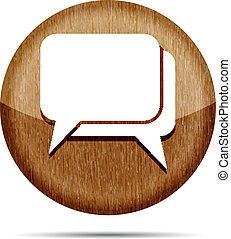 dřevěný, neposkvrněný, dialog, ikona