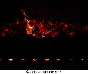 dřevěný, oheň, poleno, hořící, večer