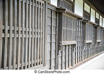 dřevěný, okno, móda, japonština