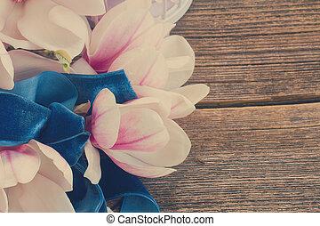 dřevěný, perla, magnólie, květiny, deska