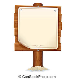 dřevěný, podoba, firma, noviny, vektor, scroll.