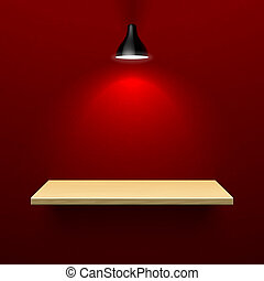 dřevěný, police, lampa, ozdobit iniciálkami
