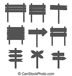 dřevěný, prázdné místo podpis, prkna, silhouettes, osamocený, oproti neposkvrněný, vektor
