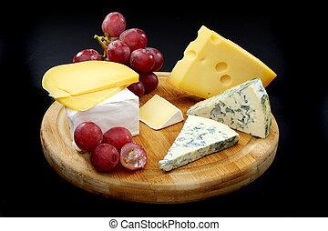 dřevěný, sýr, board., zrnko vína