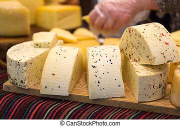 dřevěný, sýr, dát, deska