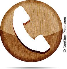 dřevěný, telefon, knoflík, neposkvrněný, ikona