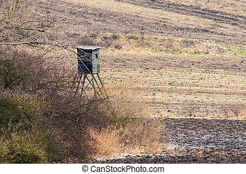 dřevěný, watchtower, zima, honba