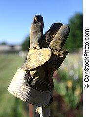dřevěný, zahradní navléknout si rukavici, ohradit