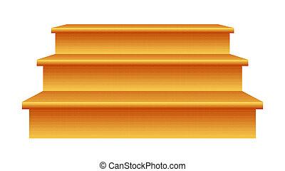 dřevo, schody