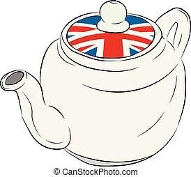 důležitý, prapor, británie, konvice na čaj