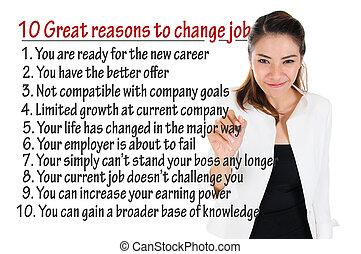 důvod, zaměstnání, vyměnit