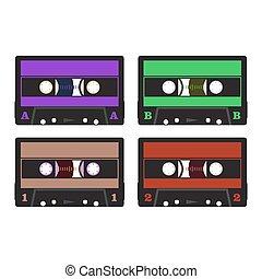 dźwiękowy, barwny, retro, kasety