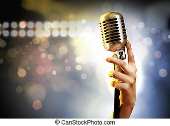 dźwiękowy, mikrofon, retro tytułują