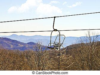dźwig krzesła, narta, opróżniać
