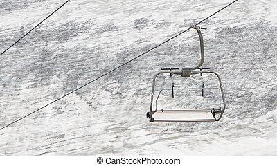 dźwig, narta, opróżniać, nad, śnieg