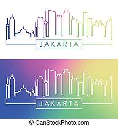 dżakarta, skyline., barwny, linearny, style.