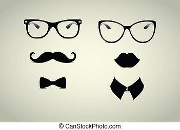 dżentelmen, hipster, dama, icohs