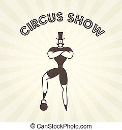 dżentelmen, strongman, cyrk, -, herb, aktor, skrzynia, ...
