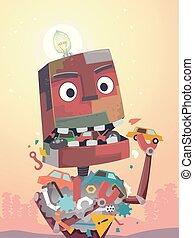 dżonka, maskotka, robot, ilustracja, jeść