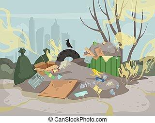 dżonka, tracić, góra, kiepski, powonienie, toksyczny, środowisko, wektor, odpadki, tło, smell., chmury, stos
