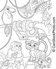 džungle, les, s, živočichy, karikatura, vektor, ilustrace