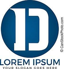 d, ビジネス, 抽象的, 手紙, ロゴ, design.